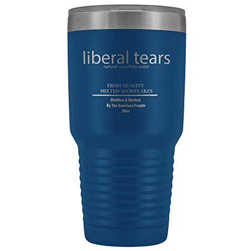 Liberal Tears Mug - Stainless Steel Travel Mug - 30 oz Insulated Tumbler - Conservative Political Gifts - Anti Liberal Merchandise (Black)
