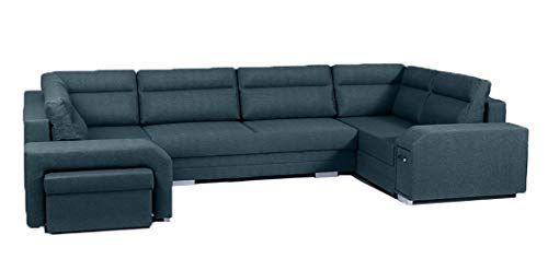 Ye Perfect Choice U-Shaped SOFA BED Avares U Modern Couch Footstool Drawer Storage Sleeping Function Seater 370cm 12'1'' (Turquoise, Left Hand Side)