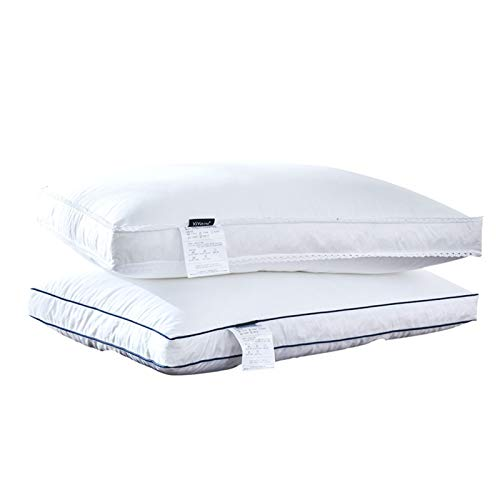 Zyyyyyyy, cuscini da letto in cotone bianco per una coppia di cuscini in piuma d'oca, morbido e confortevole, per dormire e riposare (stile: maschio)
