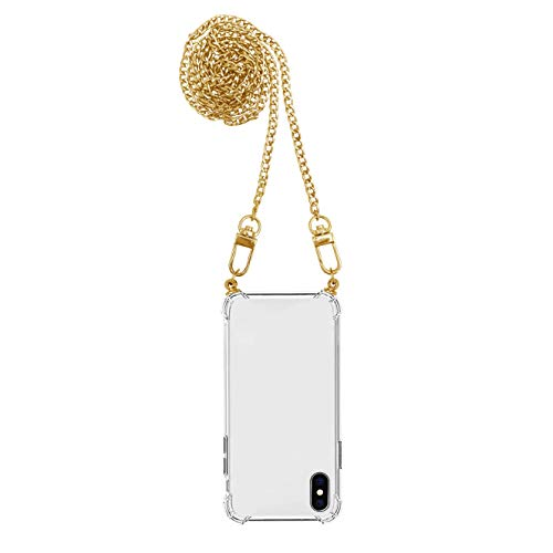 iPhone | Funda antigolpes | Airbag | Transparente Crystal Clear | Carcasa con cadena cadena cadena para teléfono móvil (iPhone 11, dorado)