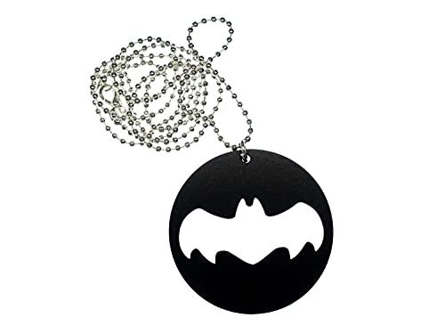 Miniblings Collar de murciélago, hecho a mano, cadena de 80 cm, colgante de madera negro, círculo, Bat Comic superhéroe, Halloween, carnaval, vampiro, perro de murciélago, cadena de bolas plateada