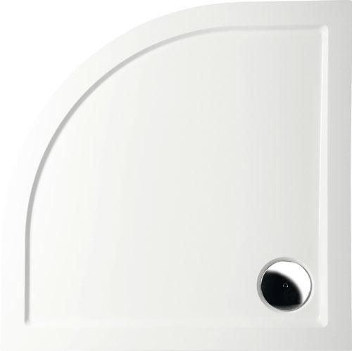 Mineralguss Duschwanne 90x90 Viertelkreis R55 - begehbare Dusche 900x900x40 mm, Weiß
