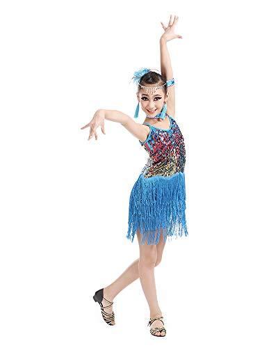 Jonact Meisjes Latin dansjurk - Kinderen stijldansen Jurk Pailletten Kwastjes Sling Mouwloos voor Tango Salsa-kostuum