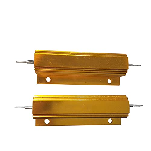 2pcs Yellow Aluminum Case Resistor 100W 0.3R Wirewound Resistor, for Power Supply, Inverter, Elevator, Stage Audio, Chassis Mounted Resistor