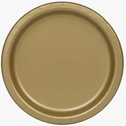Unique Party- Platos de Papel Ecológicos-18 cm Dorado-Paquete de 20, Color gold (33244EU)