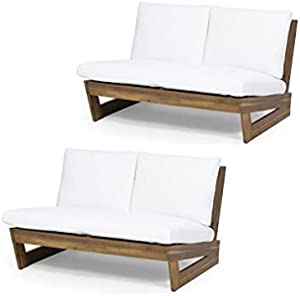 Home Square 2 Piece Outdoor Acacia Wood Loveseat Set in Teak and White