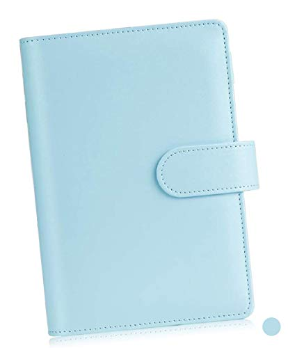 A6 PU Leather Notebook Binder, Refillable 6 Ring Binder for A6 Filler Paper, Personal Planner Cover with Magnetic Buckle Closure for School Office Home Gift Friend Festivals, Mint Blue (Mint Blue)