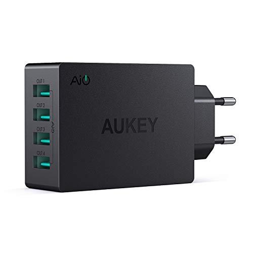 AUKEY USB Ladegerät 4 USB Ports 40W USB Netzteil mit AiPower Technologie für iPad Air / Pro, iPhone X / 8 / 8 Plus, Samsung, HTC, LG usw.