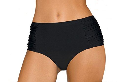 LORIN Damen Bikini Schwimmhosen Tankini Bademode Unterteile, L8004, Schwarz, EU 46