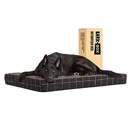 Barkbox Memory Foam Platform Dog Bed   Plush Mattress for Orthopedic Joint Relief   Machine Washable Cuddler with Removable Cover and Water-Resistant Lining   (X-Large, Black Plaid)
