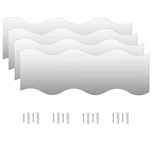 vidaXL 4X Espejos de Pared Vidrio Ondulado 60x18.5cm Decoración Casa y Hogar