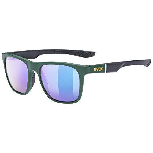uvex Unisex– Erwachsene, lgl 42 Sonnenbrille, green black mat/mirror green, one size