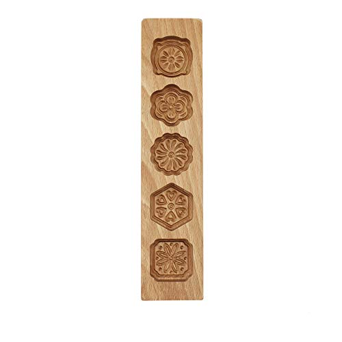 "Mould Press,5 Flower Environmental Wooden Muffin And Mooncake Cups Handmade Soap Molds Biscuit Chocolate Ice Cake candy,Cake Pans,Baking Decoration Cutter Mold 12.5"" Wood color"