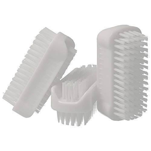 PARSA 3er Pack/Stück doppelseitige Bürsten in Weiß im Set Nagelbürsten/Handwaschbürste für Bad, WC, Waschbecken, Werkstatt