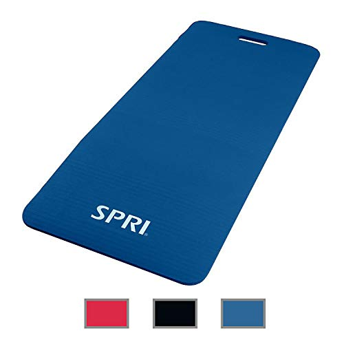 SPRI Exercise Mat for Fitness, Yoga, Pilates, Stretching & Floor Exercises, Blue, 48' L x 20' W x 1/2-Inch Thick
