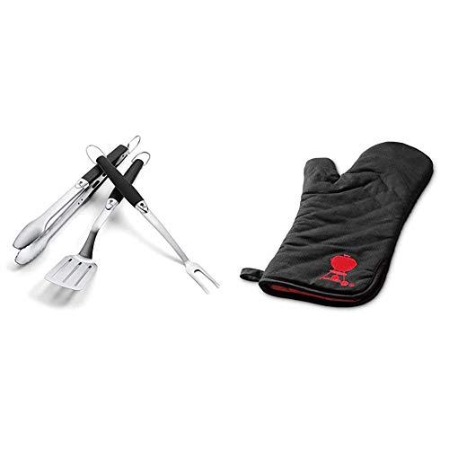 Weber, Black, Premium Tool Set, Stainless Steel, 3 pcs & Weber Premium Grill Mitt