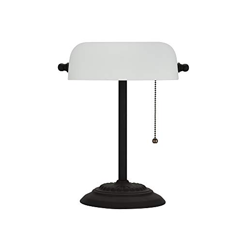 "Amazon Brand – Ravenna Home Contemporary Banker's Desk Lamp with LED Light Bulb, 13.5""H, Dark Bronze"
