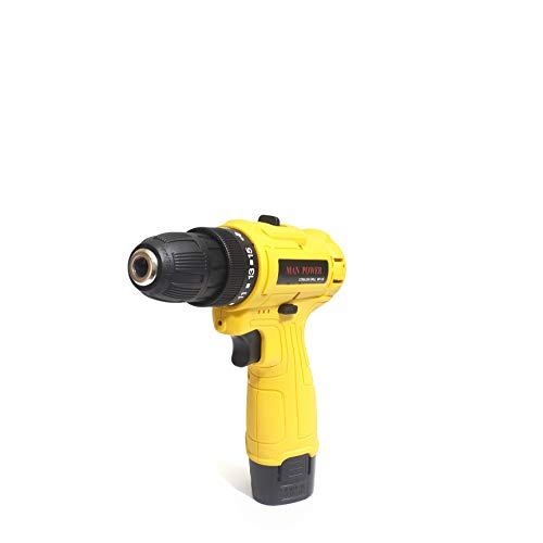MANPOWER Cordless Drill Driver 10mm Keyless Chuck 12V with Double Battery