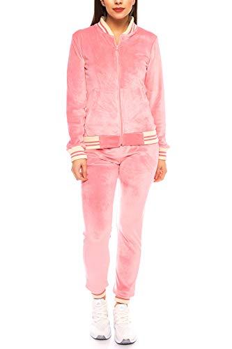 Crazy Age Nicki Anzug |Velvet | Mikrofaser Anzug feine Qualität | Warm und Kuschelig | Sportanzug aus Samt (Nicki, Velvet) Wohlfühlen mit Style (Rosa, XL~40/42)