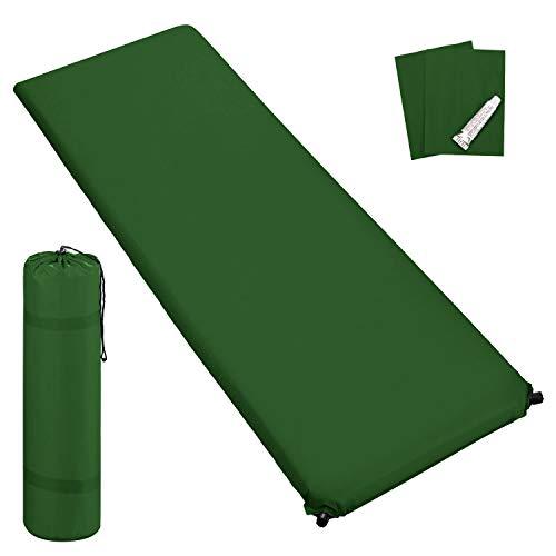 Outdoor Isomatte, selbstaufblasend, ca. 2 m Länge, inkl. Flick Set - selbstaufblasbare Luftmatratze geeignet zum Camping und fürs Zelt mit kleinem Packmaß (dunkelgrün, 6 cm Polsterdicke)