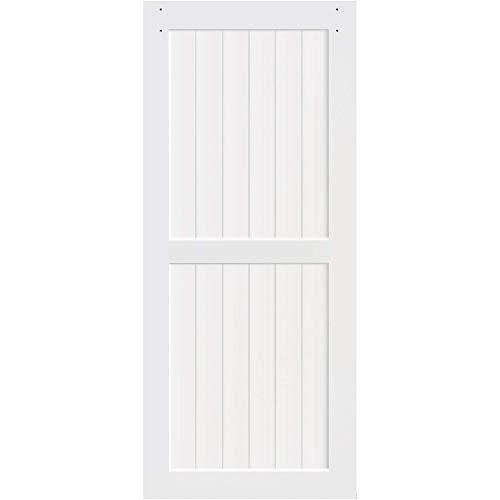 Kimberly Bay 2-Panel White Solid Core Pine Barn Door Slab (83.5x30) (36x84)