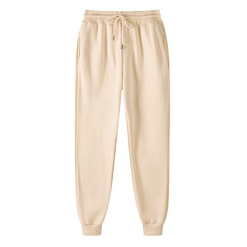OutTop Men's Joggers Drawstring Elastic Waist Sweatpants Casual Workout Sports Pants Comfy Trousers Tracksuits Bottoms (Beige, XXL)