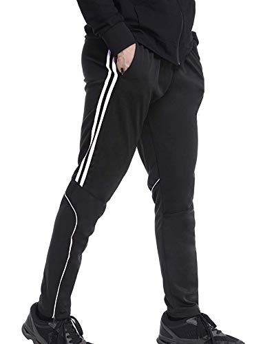 Men's Sweatpants Track Soccer Training Pants Active Jogger Pants Slim Fit Trousers Striped with Zipper Pockets M