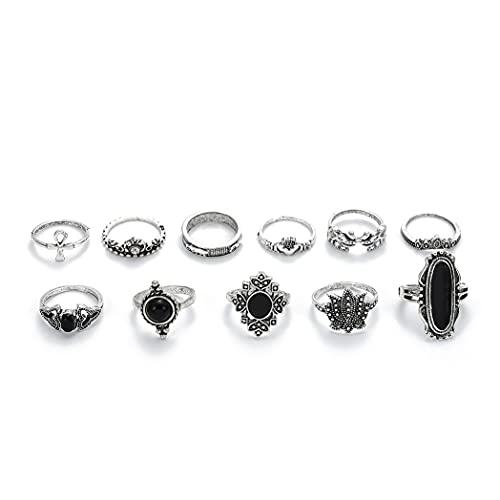 Belasa Juego de anillos para nudillos vintage de plata con piedras preciosas para nudillos, anillos apilables de loto para mujeres y niñas (paquete de 11)