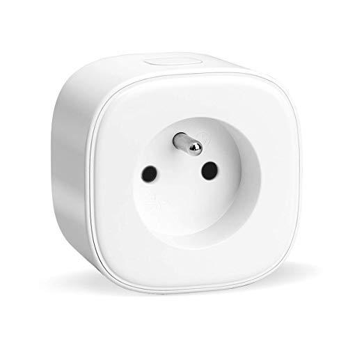 Prise Connectée WiFi (FR), meross Prise Intelligente Compatible avec Alexa, Google Home et SmartThings, Prise Française Programmable avec Contrôle à Distance, Contrôle Vocal et Fonction de Temps
