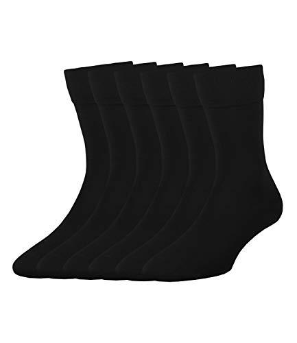 ELBEO Herren Business-Socken Freizeitsocken Bamboo 905901 6 Paar, Farbe:Schwarz, Menge:6 Paar (6x 1er Pack), Größe:39-42, Artikel:-9500 schwarz