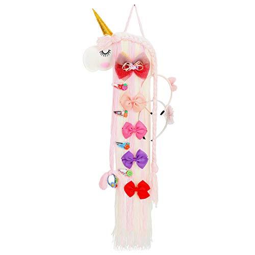 Einhorn Haarspangen Halter Organizer für Baby Mädchen, Pink Haarschleife Zubehör Aufbewahrung Einhorn Dekorationen für Thema Party