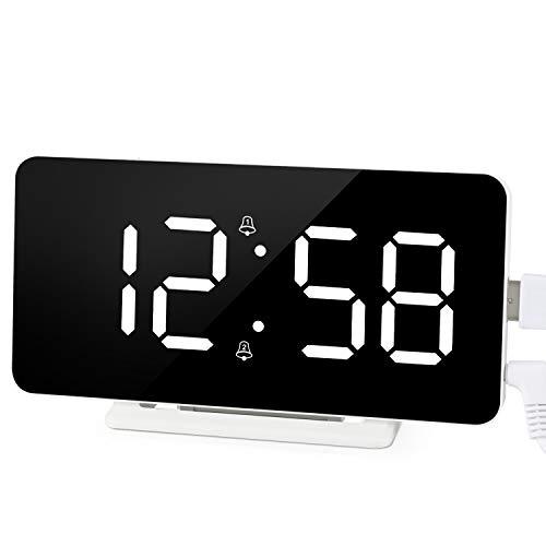 Edillas Sveglia Digitale, Ampio Display a LED Doppio Allarme,Orologio con Superficie a Specchio con Funzione Snooze e 3 Livelli di Luminosità Sveglia con Connessione di Ricarica USB Regolabile