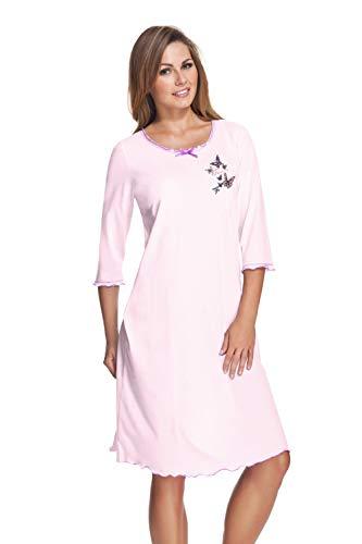 e.FEMME Damen Nachthemd Celine 275 mit 3/4 Ärmeln aus Baumwolle und Modal in der Farbe Rosa in Größe 42