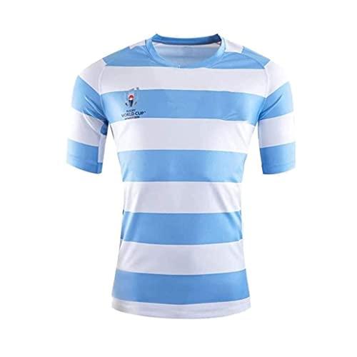 ZDVHM Copa del Mundo Jersey de Rugby, Argentina Inicio Rugby Jersey Uniforme Manga Corta 100% Poliéster Tela Transpirable Deportes Entrenamiento Camiseta Camisa de fútbol para Hombres