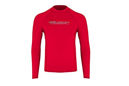 WindRider Men's Rash Guard Swim Shirt – Long Sleeve UPF 50+ Performance Fit Red