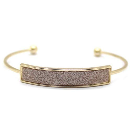 14k Gold Plated Serenity Glitter Resin Cuff Bangle - Electric Blue or Rose Gold (Rose Gold)