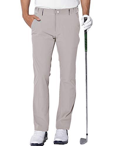 Homme Imperméable Pantalon de Golf Extensible Léger Sports Golf Pants avec 4 Poches Beige XL