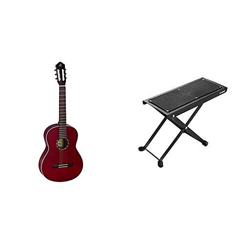 Ortega Guitars Gitarre R121WR Family Serie Nylon Gitarre mit Fichtendecke und Mahagoni Korpus, Weinrot, hochglanz Finish & Adam Hall Stands SGS017 Gitarrenfußbank