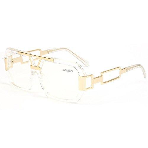 SHEEN KELLY Hexagon Retro Rechteckig Sonnenbrille Damen Herren Metall Brillen Gold Herren Square Brille Luxus Transparente