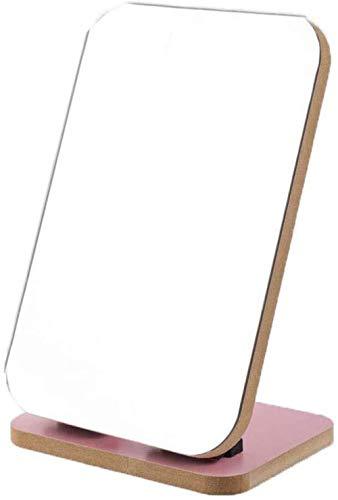 LYMUP Espejo de maquillaje para el hogar, espejos de mesa de madera maciza de alta definición de 90 grados; espejo de tocador ajustable, espejo cosmético, espejo de tocador de baño ampliado
