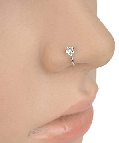 Dasuke - Faux piercing de nez en forme d'anneau avec zirconium - Se pince sur votre narine
