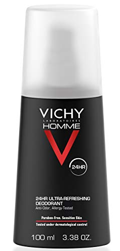 Vichy Homme 24 Hour Protection Men's Deodorant Spray, 3.38 Fl Oz