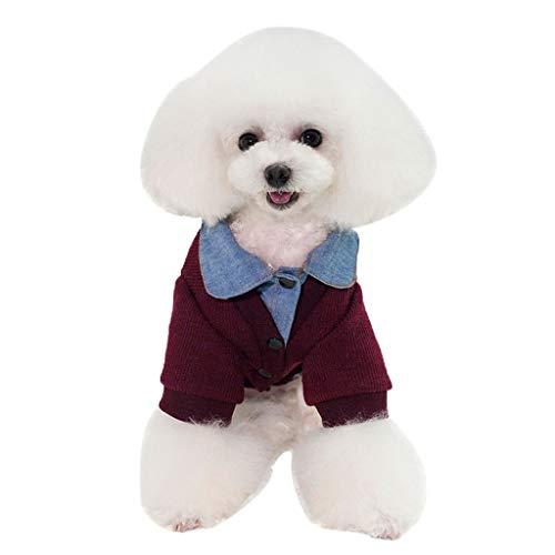 XL- Honden Trui, Cowboy Warm Doggie Kleding Kleding Kleding Zoete Gebreide Huisdier Shirt Kleding, L, Wijn Rood