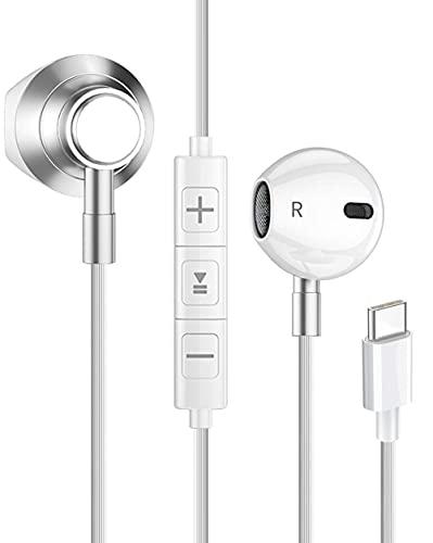 Fones de ouvido tipo c, Fones de ouvido com fio com ajuste de microfone e volume, fones de ouvido intra-auriculares usb c com chip digital compatível com Samsung /Huawei/Moto/One Plus e outros dispositivos inteligentes.