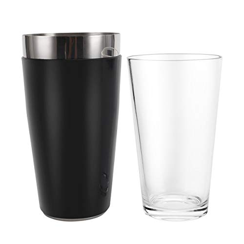 Boston Cocktail Shaker, 16 fl oz Glass and 26 fl oz Stainless Steel with Rubber Sleeve