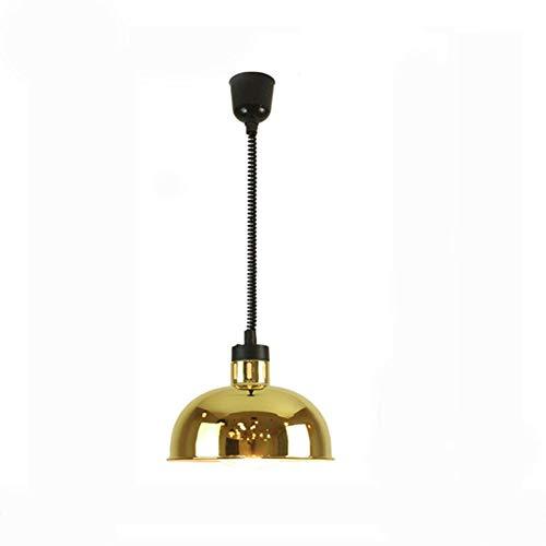 SXFYWYM Chaleur Lampe Alimentaire Chauffe Lustre Moderne Lampe télescopique Fer E27 Or Simple Mahjong Plafond Pendentif lumière Table Chambre Lampes éclairage,A,30X24CM