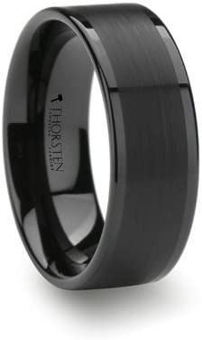 Thorsten VULCAN | Tungsten Rings for Men | Carbide | Comfort Fit | Custom Engraving | Flat Black Wedding Ring Band with Matte Brushed Finish Polished Edges - 8mm Size 11