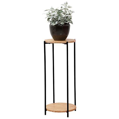 Blumentisch rund Ø30cm H70cm Holz/Metall Natur/Schwarz - Beistelltisch Blumenständer Blumensäule Blumenhocker