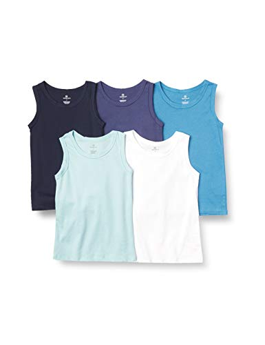 Honest Baby Clothing Company Toddler Boys' 5 Pack Organic Cotton Muscle T-Shirt Sleeveless Tee, Blue Ombre, 4T