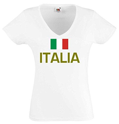 world-of-shirt Damen T-Shirt Italia/ Italien Trikot|weiß XL